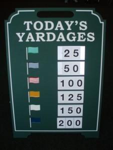yardage sign
